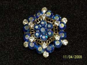 VINTAGE 4 TIERED CRYSTAL & BLUE AURORA BOREALIS BROOCH