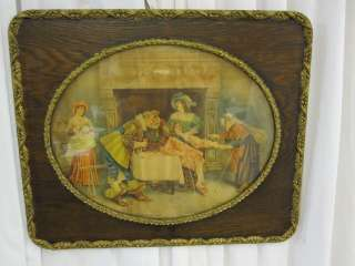 Antique Wood Frame w Gold Trim w Old Print & Glass
