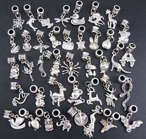Wholesale 40p Mix Tibetan Silver Animal Dangle Beads Fit Charm