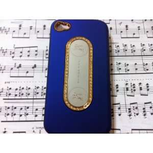 Luxury Designer Blue Crystal Gold Trim Back Iphone 4 Case