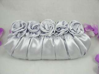 Silver Satin Roses Pleated Wedding Clutch Rhinestones EC 09238