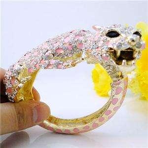 Leopard Bracelet Bangle Swarovski Crystal Animal Panther Cuff
