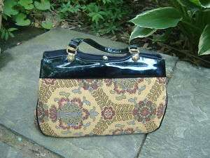 REGAL Vintage 60s Gold Tapestry Black Trim Kelly Bag