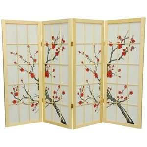 Furniture 48 Inch Low Cherry Blossom Shoji Screen Room Divider Decor