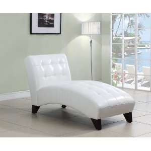 Acme 15037A Anna Polyurethane Lounge Chaise, White Home
