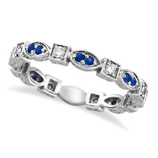 Allurez Blue Sapphire Ring Band 14k White Gold by Morris and David (0