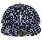 Ace Caps TAMPA 813 NAVY WHITE FLAT BILL FITTED CAP HAT MEDIUM
