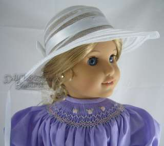 Smocked Dress, Bloomers, Half Slip, Hat fits American Girl Doll