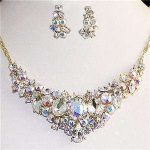 Flower Drop Earring Necklace Set Swarovski Crystal Clear AB Floral