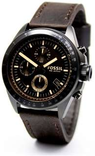 Brand New Fossil Brown Leather Strap Steel Case Chronograph Mens Watch