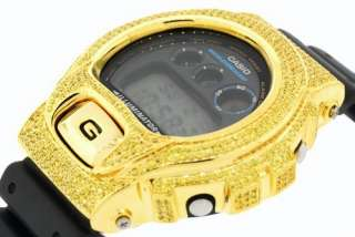 CASIO G SHOCK 6900 WATCH SIMULATED DIAMOND PAVE CANARY YELLOW CUSTOM