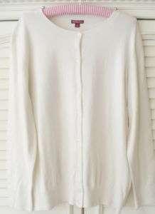 White Cardigan Sweater Cotton Blend Long Sleeve 1X 4X