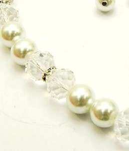 Chunky WHITE PEARL CRYSTAL NECKLACE SET Costume Jewelry