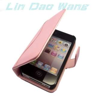 BOOK GENUINE LEATHER CASE POUCH FOR Apple iPhone 4 4G