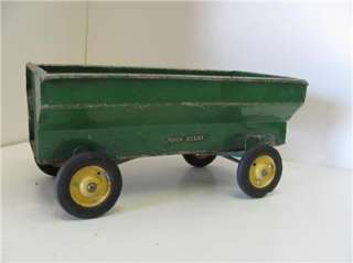 Old Vtg John Deere Pressed Steel ERTL? Toy Grain Wagon Trailer Farm