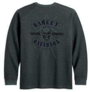 Mens Harley Davidson Long Sleeve Knit Tee with Skull 96490 11VM