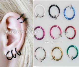 New clip on fake piercings stud hoop nose lip ear rings punk goth