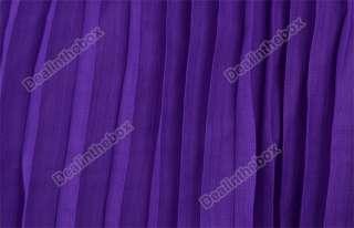 Womens Pleated BOHO Sexy Maxi Long Dress Chiffon New