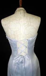 NWT Jessica McClintock Silver Satin Mermaid Dress Gown Size 5