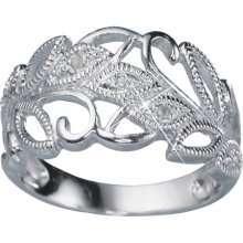 STERLING SILVER GENUINE DIAMOND ACCENT DESIGN RING SIZE 7 GIFT BOX NIB