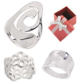 Modern Style Silver Plated Ring in Size 5 6 7 8 9 or 10