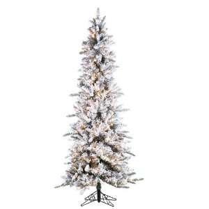 7.5 Pre Lit Slim Flocked Pine Artificial Christmas Tree