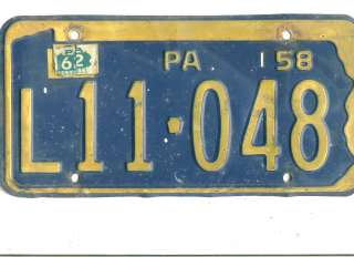 LOT F~1958/62 PENNSYLVANIA~L11 048~LICENSE PLATE~TAG
