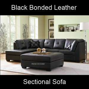 Modern Black Bonded Leather Sectional Sofa Corner Couch Set Button