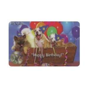 Collectible Phone Card 15u Dogs With Party Hats & Balloons Happy