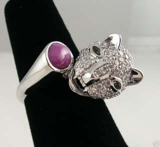 LINDE LINDY STAR RUBY CREATED SAPPHIRE SS PANTHER RING