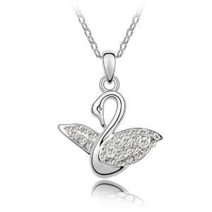 Chip Unlimited   Clear Crystal Swan Song Pendant with 18in 18k White
