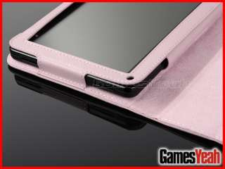Hot Pink Kindle Fire PU leather Case Cover/Car Charger/USB Cable