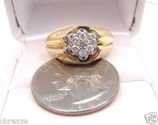 DIAMOND CLUSTER VINTAGE MENS TWO TONE 10K GOLD RING