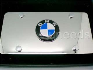 BMW Logo EMBLEM on Mirror Stainless Steel License Plate