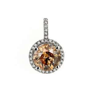 2.66 Ct. Chocolate Diamond Fashion Pendant. All 14kt White Gold