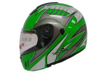 TRIBAL GREEN MODULAR FLIP UP FULL FACE MOTORCYCLE HELMET DOT ~XL