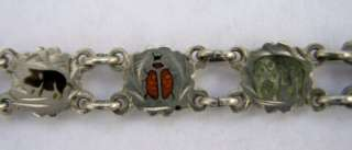 ANTIQUE GERMAN SILVER ENAMEL CHARM BRACELET w 13 CHARMS SWALLOW CLOVER