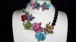 Swarovski Crystals Multi Flower Necklace & Earring Set