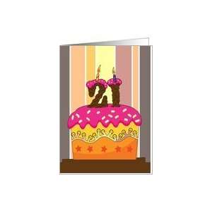cake with candle 21   21st birthday greeting card Card: Toys & Games