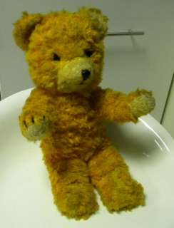 VINTAGE Old Plush Teddy Bear STUFFED STRAW YELOW 1940s