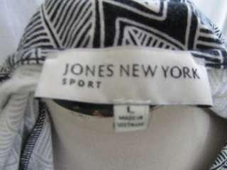 Jones New York Black White Leaf Print Sheath Jersey Knit Shift Dress L