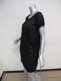 Black Cap Sleeve Button Side Knee Lenght Dress M