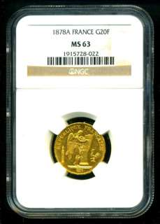 1878 FRANCE ANGEL GOLD COIN 20 FRANCS * NGC MS 63 * GEM