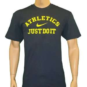 Nike Mens T Shirt Just do It Athletics Navy Blue Sports