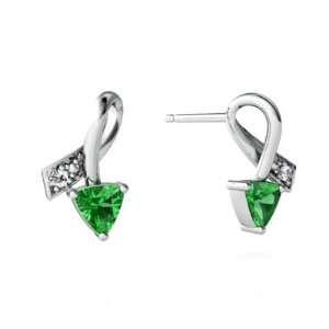 14K White Gold Trillion Created Emerald Ribbon Earrings Jewelry