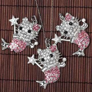 Silver Plated Crystal HelloKitty Mermaid Bead* Pendant