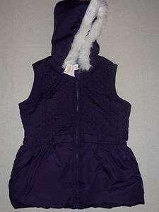 Gymboree WINTER PENGUIN Purple Quilted Faux Fur Hooded Vest Jacket NWT
