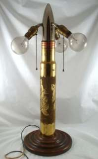 Vintage World War II AA Gun Shell Trench Art Floral Art Wood Base Lamp
