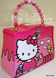 Hello Kitty Piggy Bank Coin Jewelry Tin Money Box Lunch Purse Hand Bag