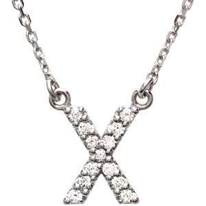 Alphabet Initial Letter Necklace (GH Color, I1 Clarity, 1/8 Cttw